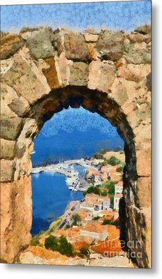 View Through The Castle In Molyvos Metal Print by George Atsametakis