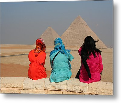 Metal Print featuring the photograph Viewing The Pyramids by Laurel Talabere