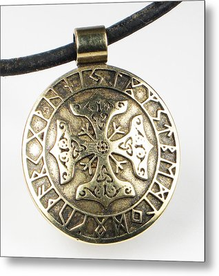 Metal Print featuring the jewelry Viking Celtic Cross With Rune Calendar by Vagabond Folk Art - Virginia Vivier