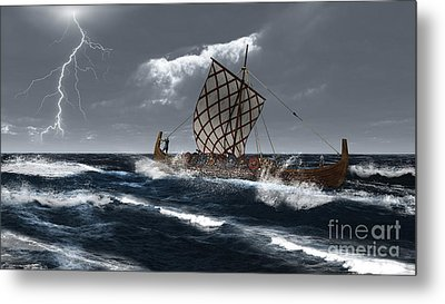 Viking Longship In A Storm Metal Print by Fairy Fantasies