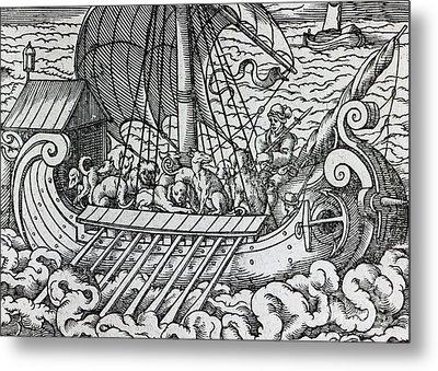 Viking Ship Metal Print by German School