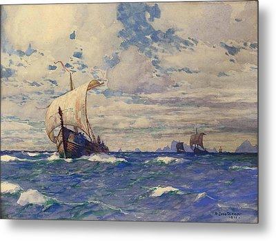 Viking Ships At Sea Metal Print by Pg Reproductions
