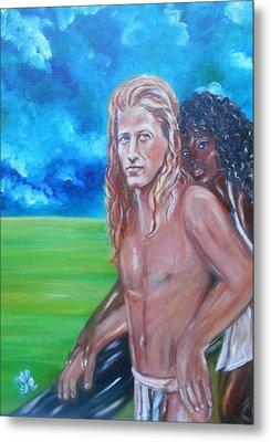 Vikings In America B.h.  - Interracial Lovers Series Metal Print
