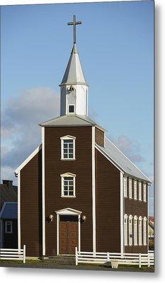 Village Church Of Eyrarbakki Metal Print by Michael Thornton