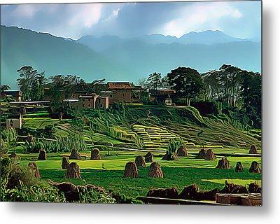 Village In Nepal Metal Print by Wernher Krutein