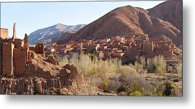 Village In The Dades Valley, Dades Metal Print by Panoramic Images