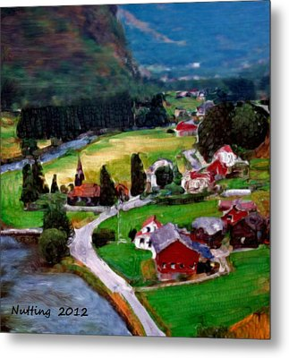 Metal Print featuring the painting Village In The Mountains by Bruce Nutting