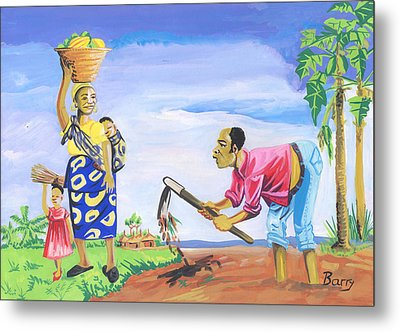 Metal Print featuring the painting Village Life In Cameroon 01 by Emmanuel Baliyanga