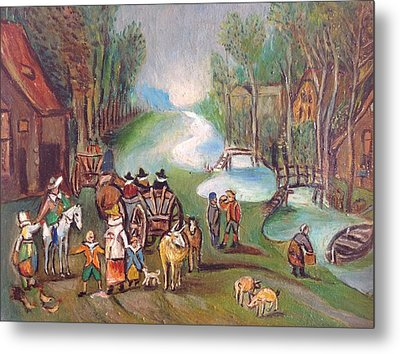 Village Scene Metal Print by Egidio Graziani