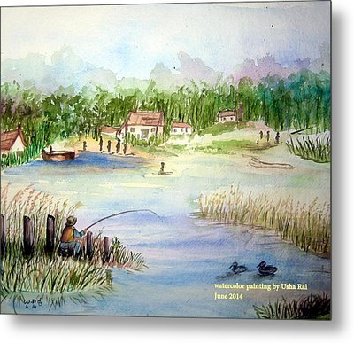 Village Scene Metal Print by Usha Rai