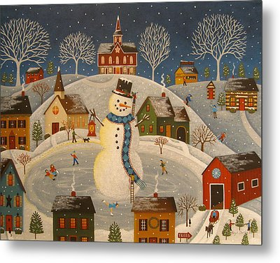 Village Snowman Metal Print by Mary Charles