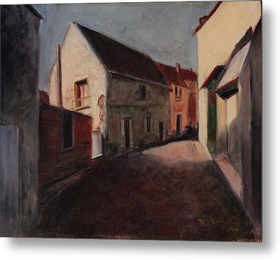 Metal Print featuring the painting Village Street by Rosemarie Hakim