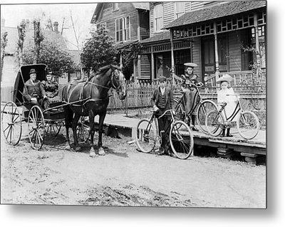 Village Street Scene Metal Print by Underwood Archives