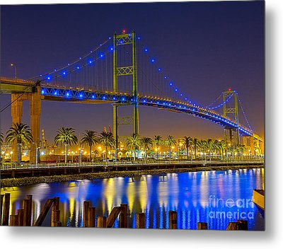 Vincent Thomas Bridge - Nightside Metal Print