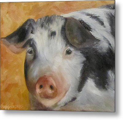 Metal Print featuring the painting Vindicator Pig Painting by Cheri Wollenberg