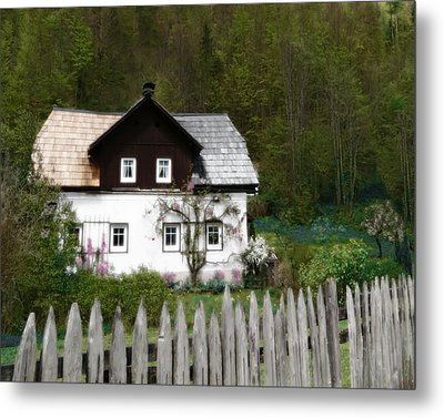 Vine Covered Cottage With Rustic Wooden Picket Fence Metal Print by Brooke T Ryan