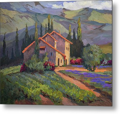 Vineyard And Lavender In Provence Metal Print