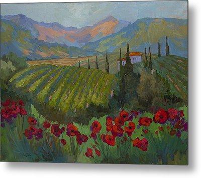 Vineyard And Red Poppies Metal Print