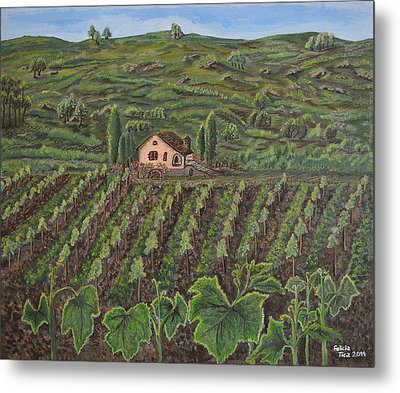 Vineyard In Neuchatel Metal Print by Felicia Tica