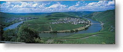 Vineyard Moselle River Germany Metal Print by Panoramic Images