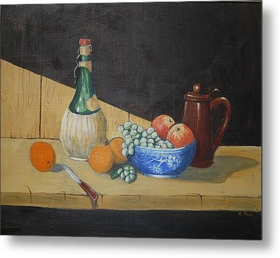 Vino And Fruit Metal Print by Anthony Ross