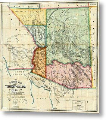 Vintage 1865 Arizona Territory Map Metal Print