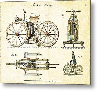 Vintage 1885 Daimler Reitwagen First Motorcycle Metal Print