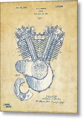 Vintage 1923 Harley Engine Patent Artwork Metal Print by Nikki Marie Smith