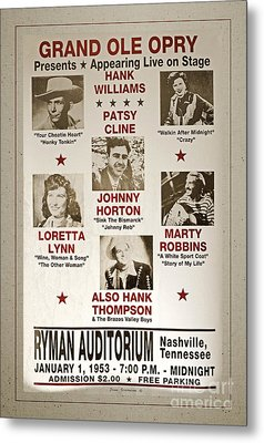 Vintage 1953 Grand Ole Opry Poster With Border Metal Print