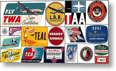 Vintage Airlines Logos Metal Print