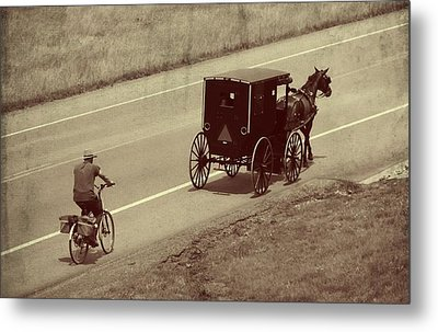 Vintage Amish Buggy And Bicycle Metal Print by Dan Sproul