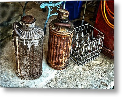 Metal Print featuring the photograph Hdr Vintage Art  Cans And Bottles by Lesa Fine
