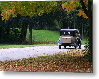 Vintage Auto On The Road Again Metal Print by Kay Novy