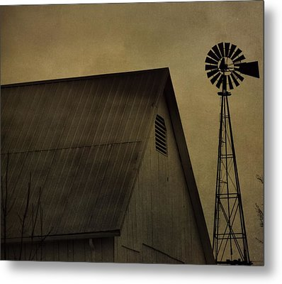 Vintage Barn And Windmill Metal Print
