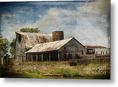 Barn -vintage Barn With Brick Silo - Luther Fine Art Metal Print by Luther Fine Art
