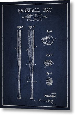 Vintage Baseball Bat Patent From 1939 Metal Print
