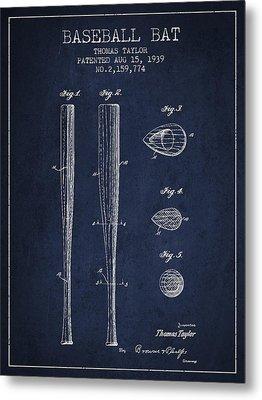 Vintage Baseball Bat Patent From 1939 Metal Print