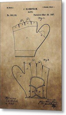 Vintage Baseball Glove Patent Metal Print by Dan Sproul
