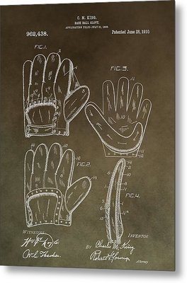 Vintage Baseball Mitt Patent Metal Print by Dan Sproul