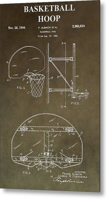 Vintage Basketball Hoop Patent Metal Print by Dan Sproul