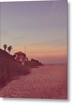 Vintage Beach Hut Metal Print by Laura Fasulo