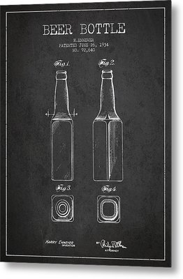 Vintage Beer Bottle Patent Drawing From 1934 - Dark Metal Print