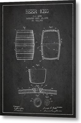 Vintage Beer Keg Patent Drawing From 1898 - Dark Metal Print