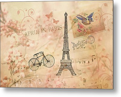 Vintage Bicycle And Eiffel Tower Metal Print by Peggy Collins