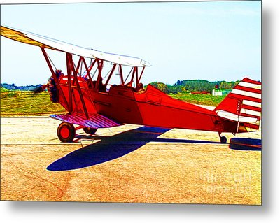 Vintage Biplane - 7d15525 - Color Sketch Style Metal Print by Wingsdomain Art and Photography