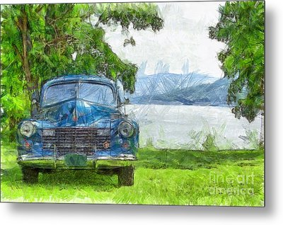 Vintage Blue Caddy At Lake George New York Metal Print by Edward Fielding