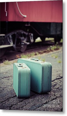 Vintage Blue Suitcases With Red Caboose Metal Print by Edward Fielding