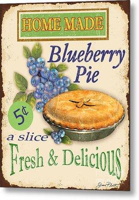 Vintage Blueberry Pie Sign Metal Print