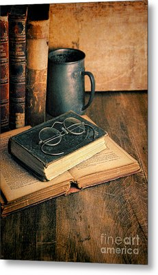 Vintage Books And Eyeglasses Metal Print by Jill Battaglia