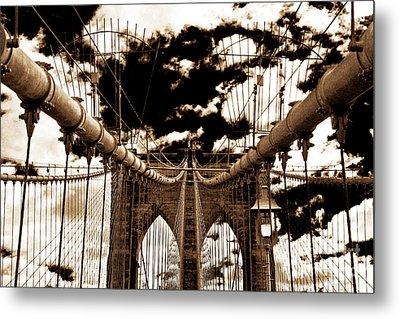 Vintage Brooklyn Bridge Metal Print